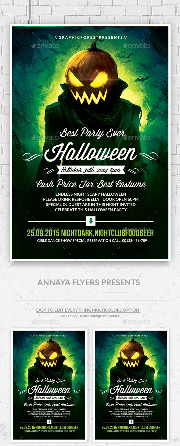 GraphicRiver Halloween Party Flyer Template 9253547