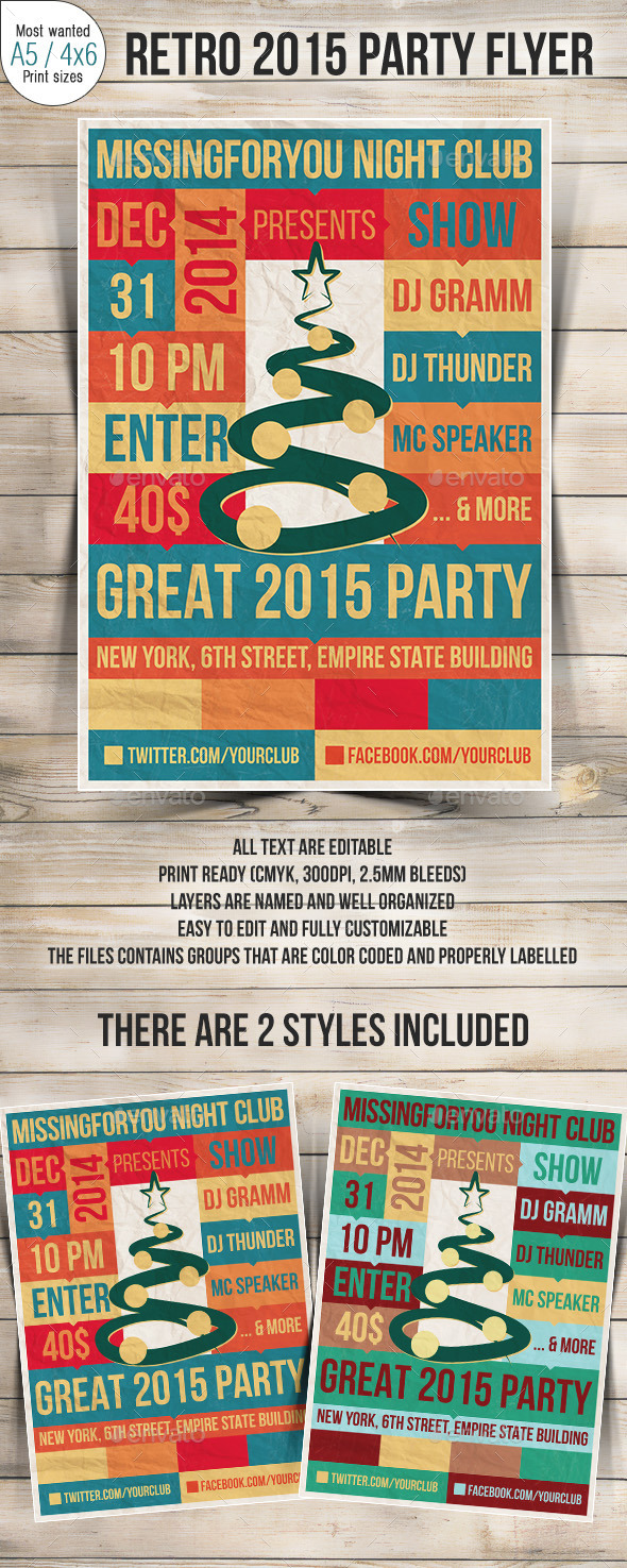 New Year 2015 Retro Party Flyer