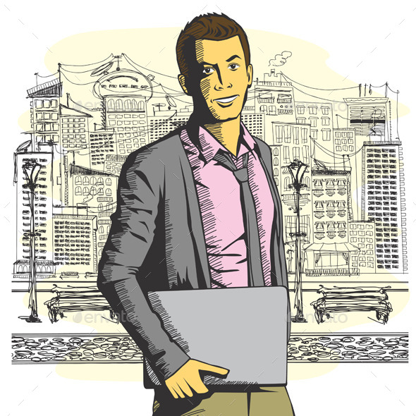 GraphicRiver Man with Laptop 9253588