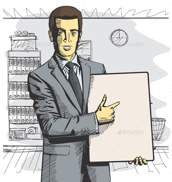 GraphicRiver Businessman with Empty Write Board 9253604