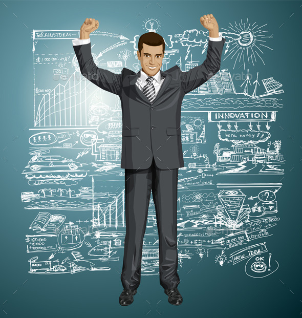 GraphicRiver Businessman with Hands Up 9253611