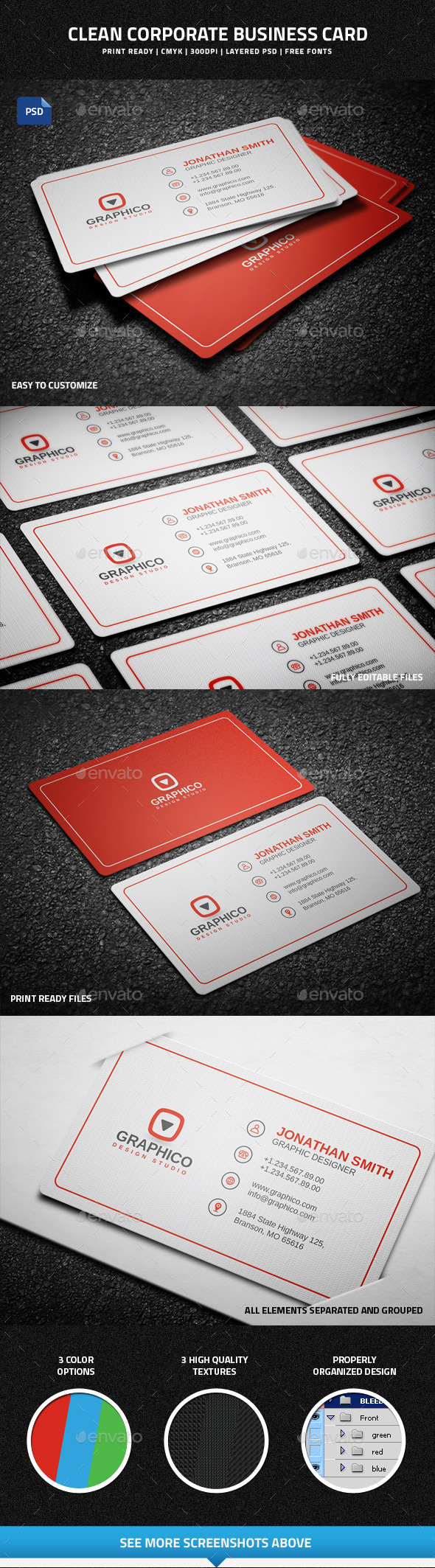 GraphicRiver Clean Corporate Business Card 9254278
