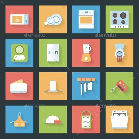 GraphicRiver Kitchen Flat Icons Set 9254326