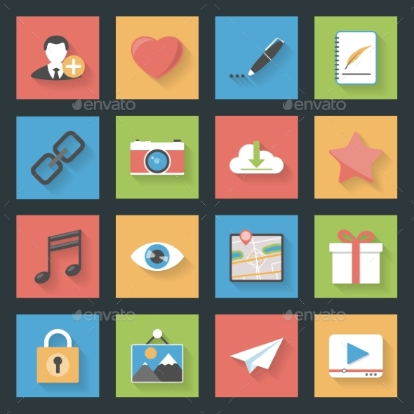 GraphicRiver Socia Media Web Flat Icons Set 9254332