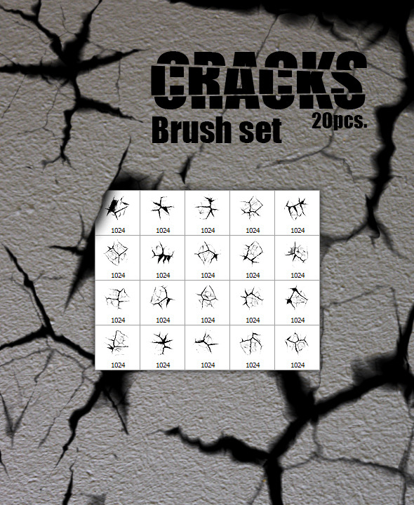 GraphicRiver Cracks 20pcs Brush Set 9254390