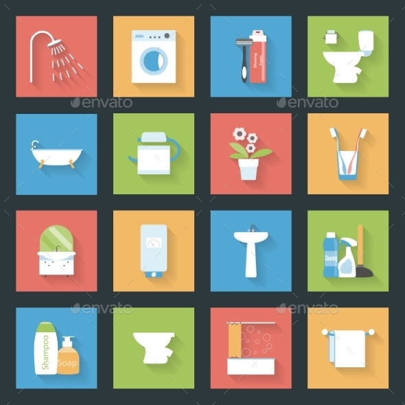 GraphicRiver Bathroom Flat Icons Set 9254841