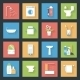 Bathroom Flat Icons Set - GraphicRiver Item for Sale