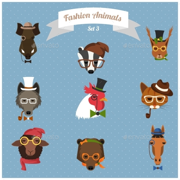 GraphicRiver Fashion Hipster Animals set 3 9254886