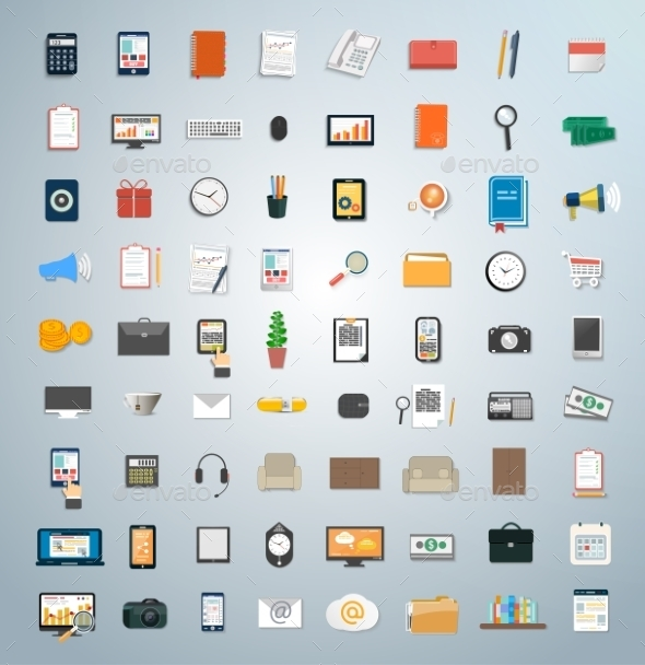 GraphicRiver Set of Various Business Concept Items Icons 9255160