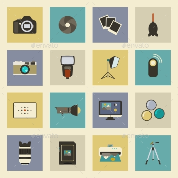 GraphicRiver Photo Equipment Flat Icons Set 9255163