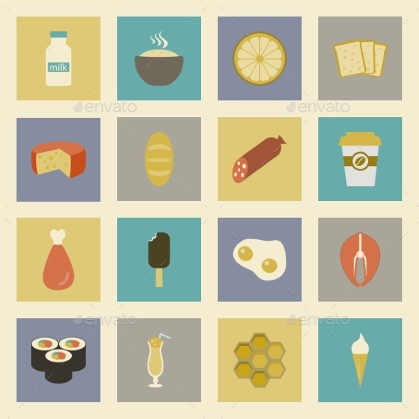 GraphicRiver Food Flat Icons Set 9255165