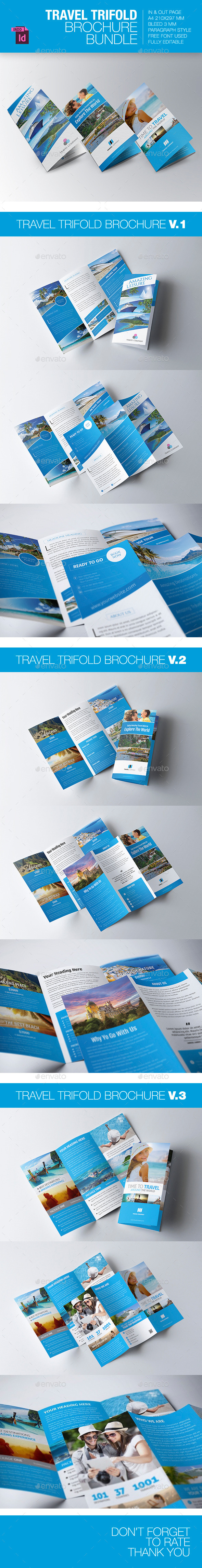 GraphicRiver Travel Trifold Brochure Bundle 9255579