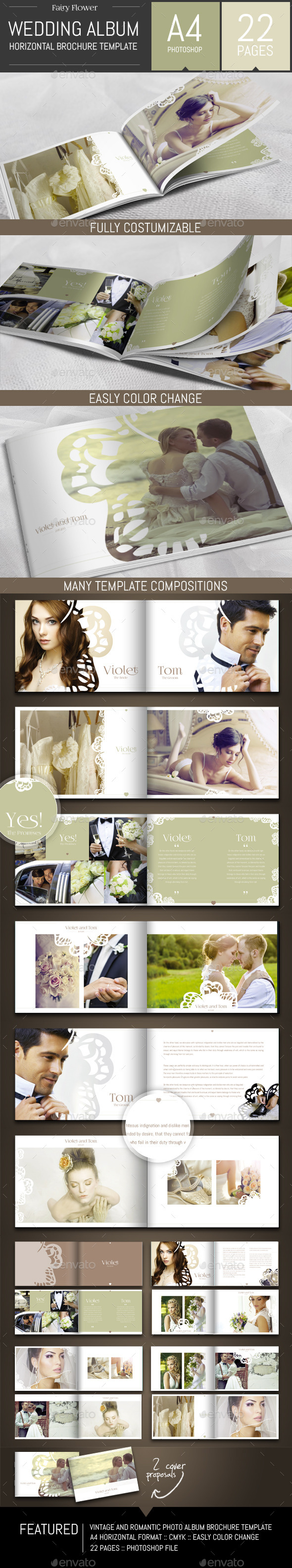 GraphicRiver Wedding Photo Album Horizontal Brochure Template 9255724