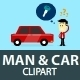 Man and Car Clipart - GraphicRiver Item for Sale