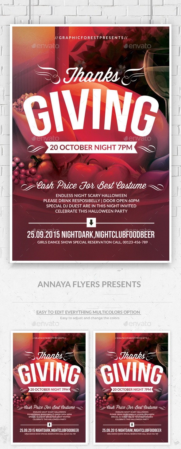 GraphicRiver Thanks Giving Party Flyer Template 9255798
