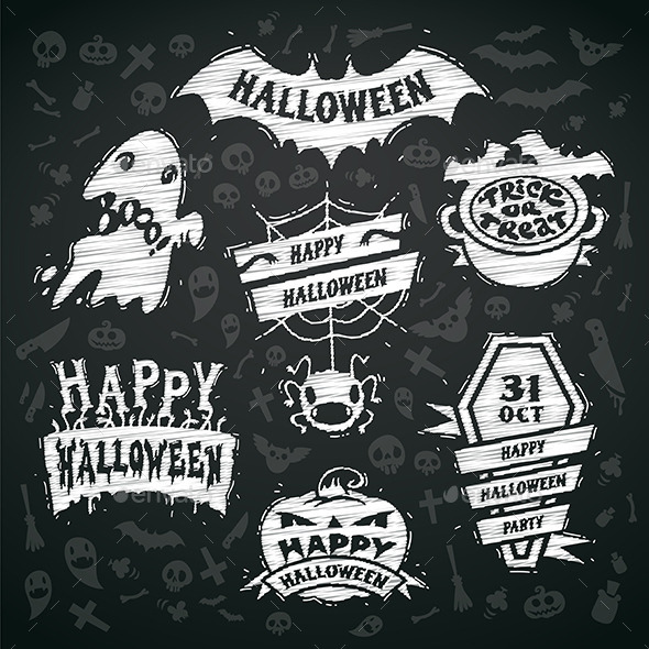 GraphicRiver Chalk Halloween Labels 9235338