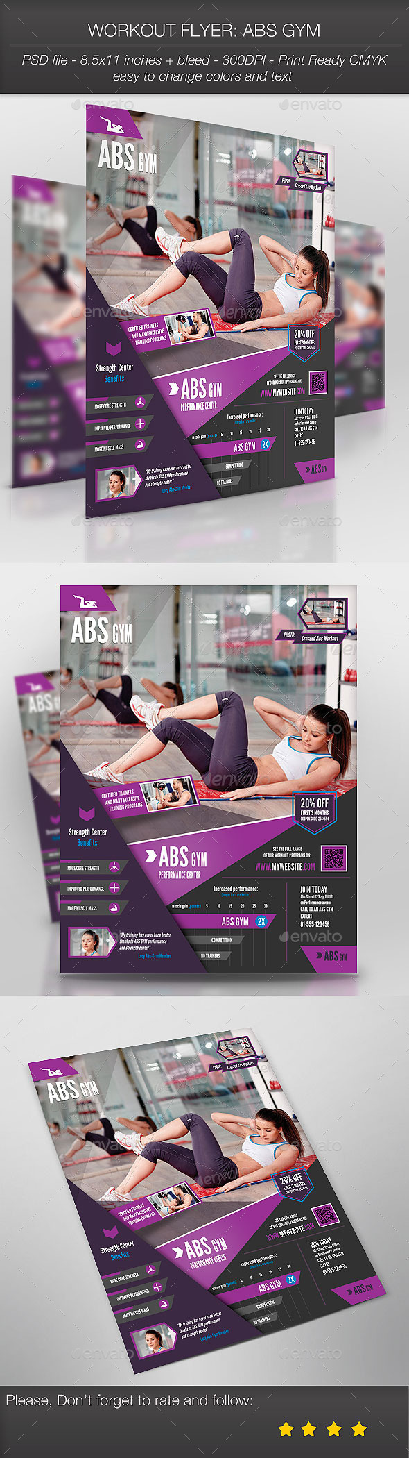 GraphicRiver Workout Flyer Abs Gym 9255876
