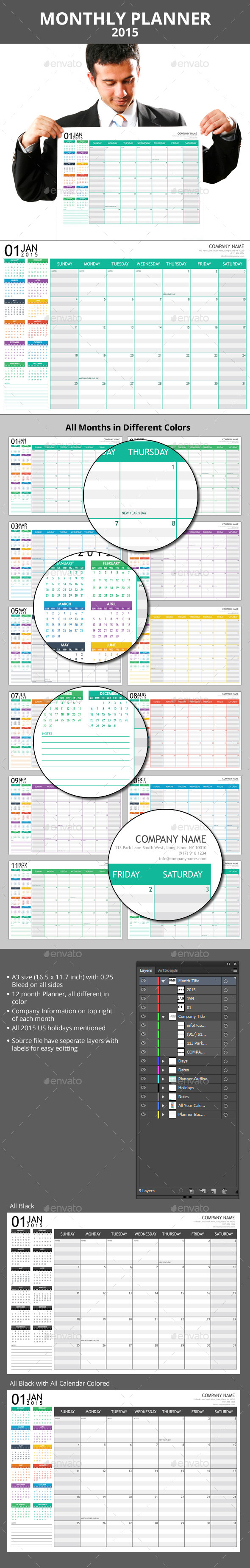 GraphicRiver Monthly Planner 2015 & A3 Poster 9182684