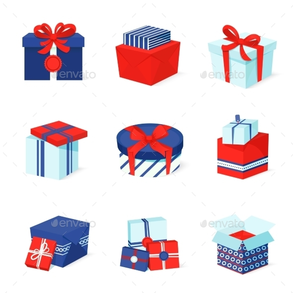 GraphicRiver Gift Box Icons Set 9256222