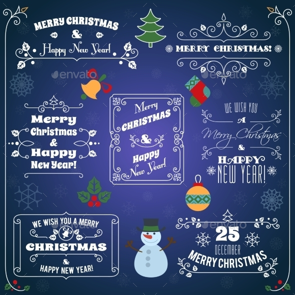 GraphicRiver Christmas Typographic Labels Set 9256316