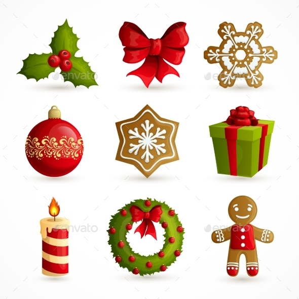 GraphicRiver Christmas Icons Set 9256346