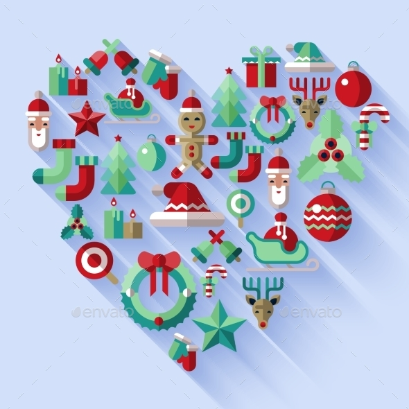 GraphicRiver Christmas icons heart 9256607