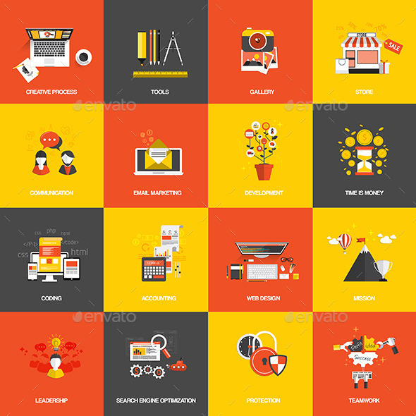GraphicRiver Set of Flat Design Concept Icons 9256675