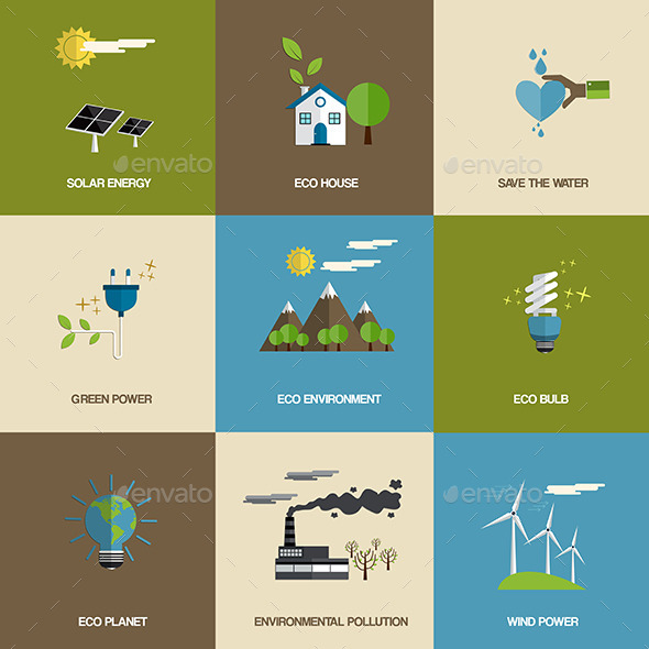 GraphicRiver Set of Flat Designed Ecology Icons 9256697