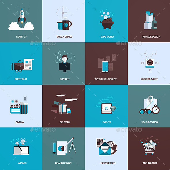 GraphicRiver Set of Flat Design Concept Icons 9256700