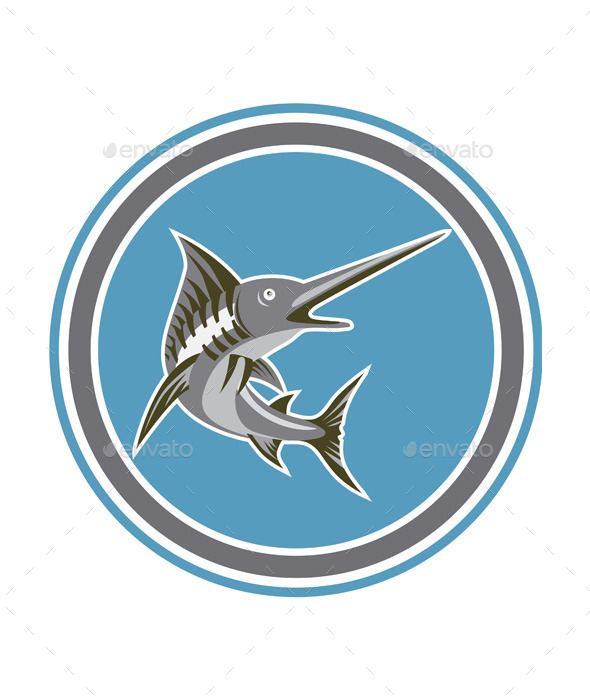 GraphicRiver Blue Marlin Fish Jumping Circle Retro 9256827