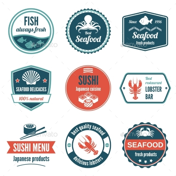 GraphicRiver Seafood Label Set 9256981