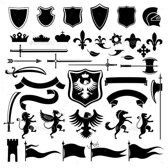 GraphicRiver Heraldic set black 9257110