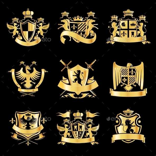 GraphicRiver Heraldic Golden Emblems 9257113