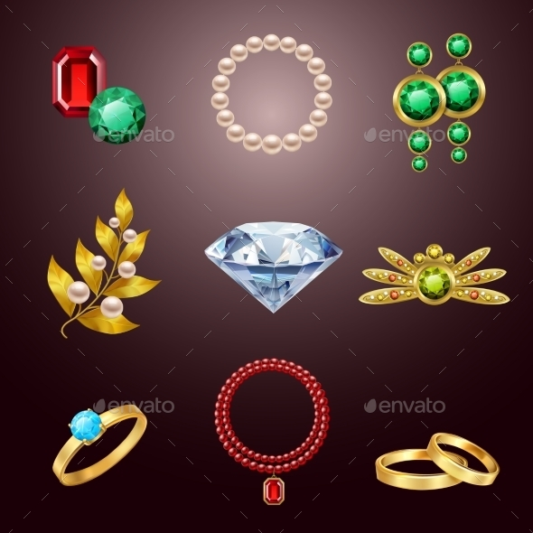 GraphicRiver Jewelry Realistic Icons 9257117