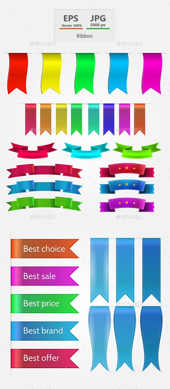 GraphicRiver Colored Ribbons Set 9257141