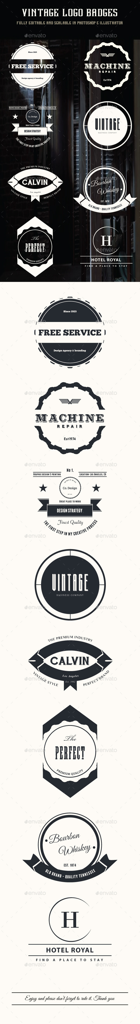 GraphicRiver 8 Vintage Logo Badges 9257205