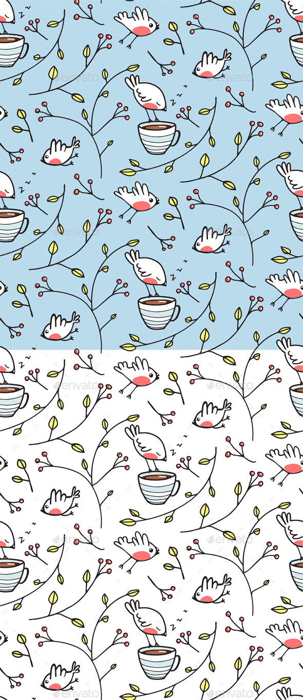 GraphicRiver Birds and Cup of Tea Romantic Background 9257320