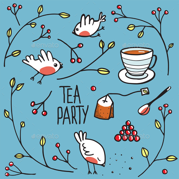 GraphicRiver Garden Tea Party with Birds Twigs and Berries 9257341