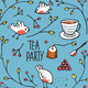 Garden Tea Party with Birds Twigs and Berries - GraphicRiver Item for Sale
