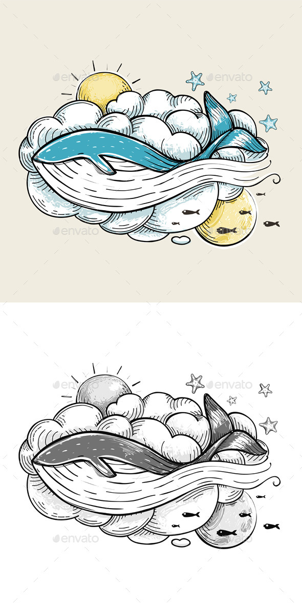 GraphicRiver Romantic Whale Swimming in Clouds Retro Design 9257357