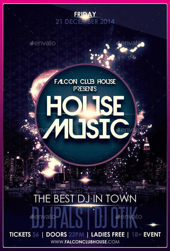 House music party flyer by falconlabdesigns graphicriver for Classic house party songs