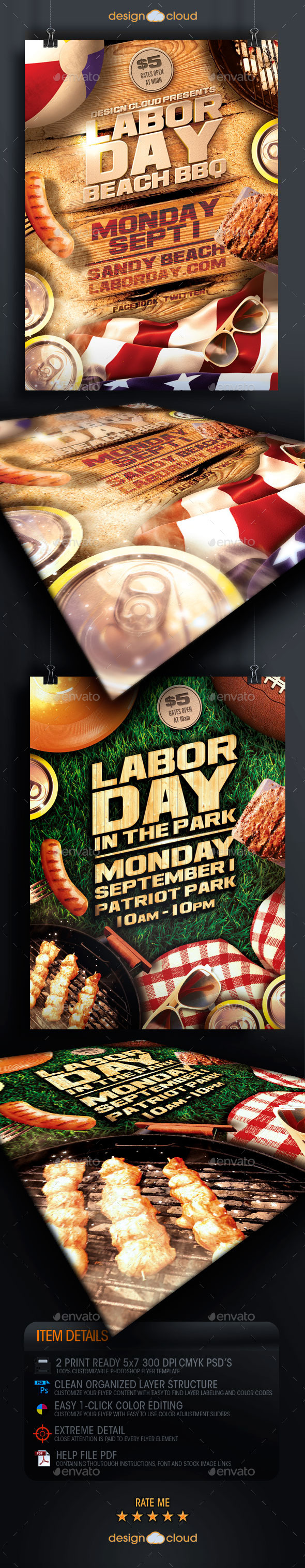 Labor Day Beach and Park Party Flyer Template Duo