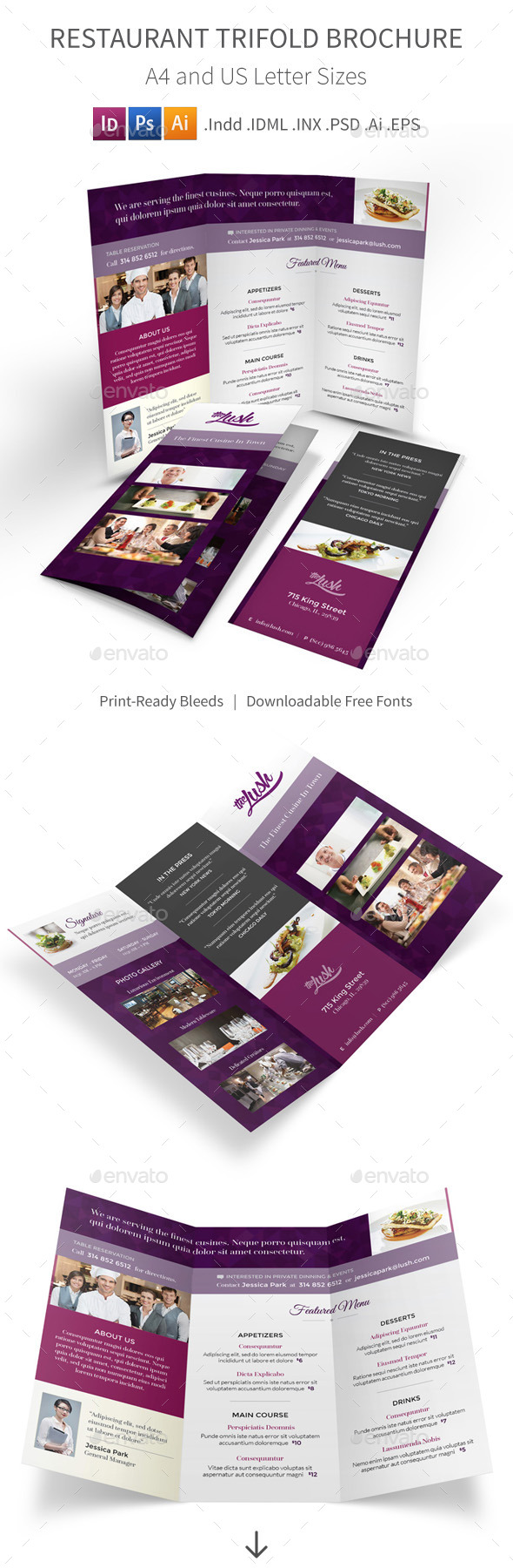 GraphicRiver Restaurant Trifold Brochure 9257463