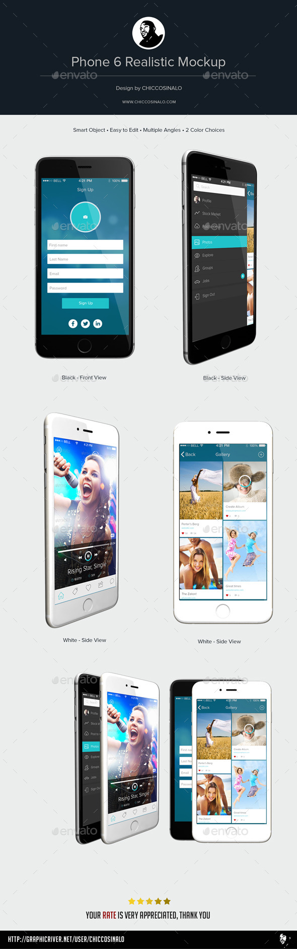 GraphicRiver Phone 6 Realistic Mockup 9257628