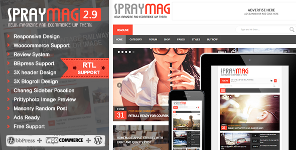 Spraymag eCommerce Magazine Responsive Blog design