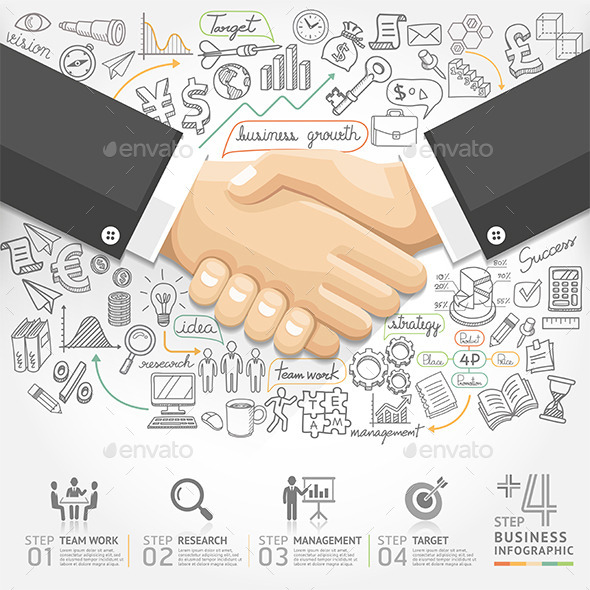 GraphicRiver Business Handshake Infographics 9258055
