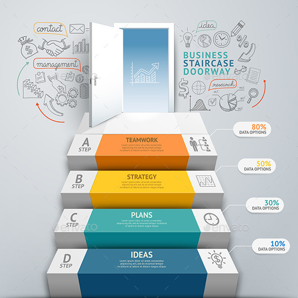 GraphicRiver Business Staircase Doorway Conceptual Infographics 9258102