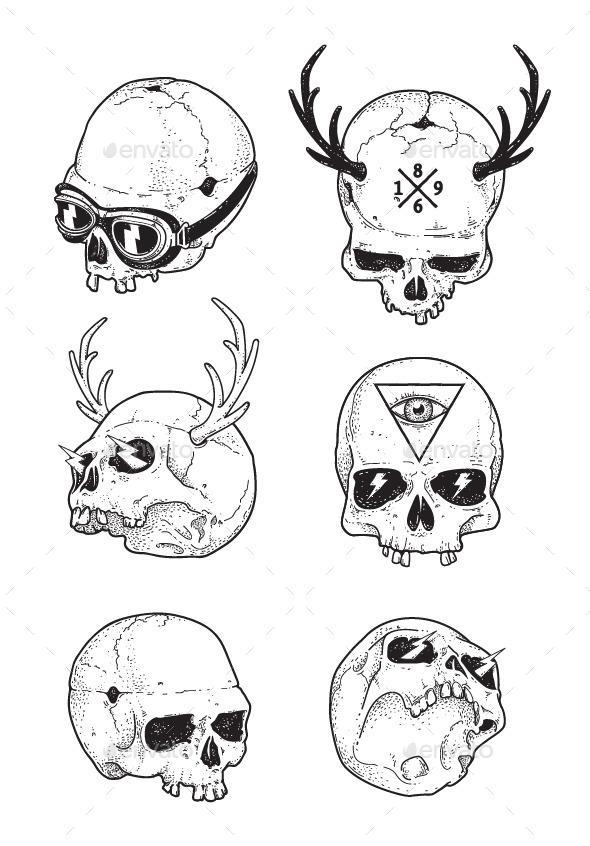 GraphicRiver Hipster Skulls Set 9258156