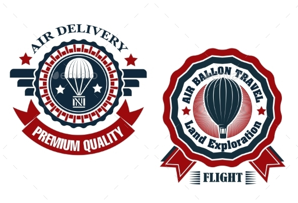 GraphicRiver Air Delivery and Hot Air Balloon Badges 9258349