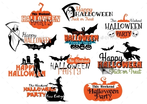 GraphicRiver Set of Happy Halloween Designs 9258363